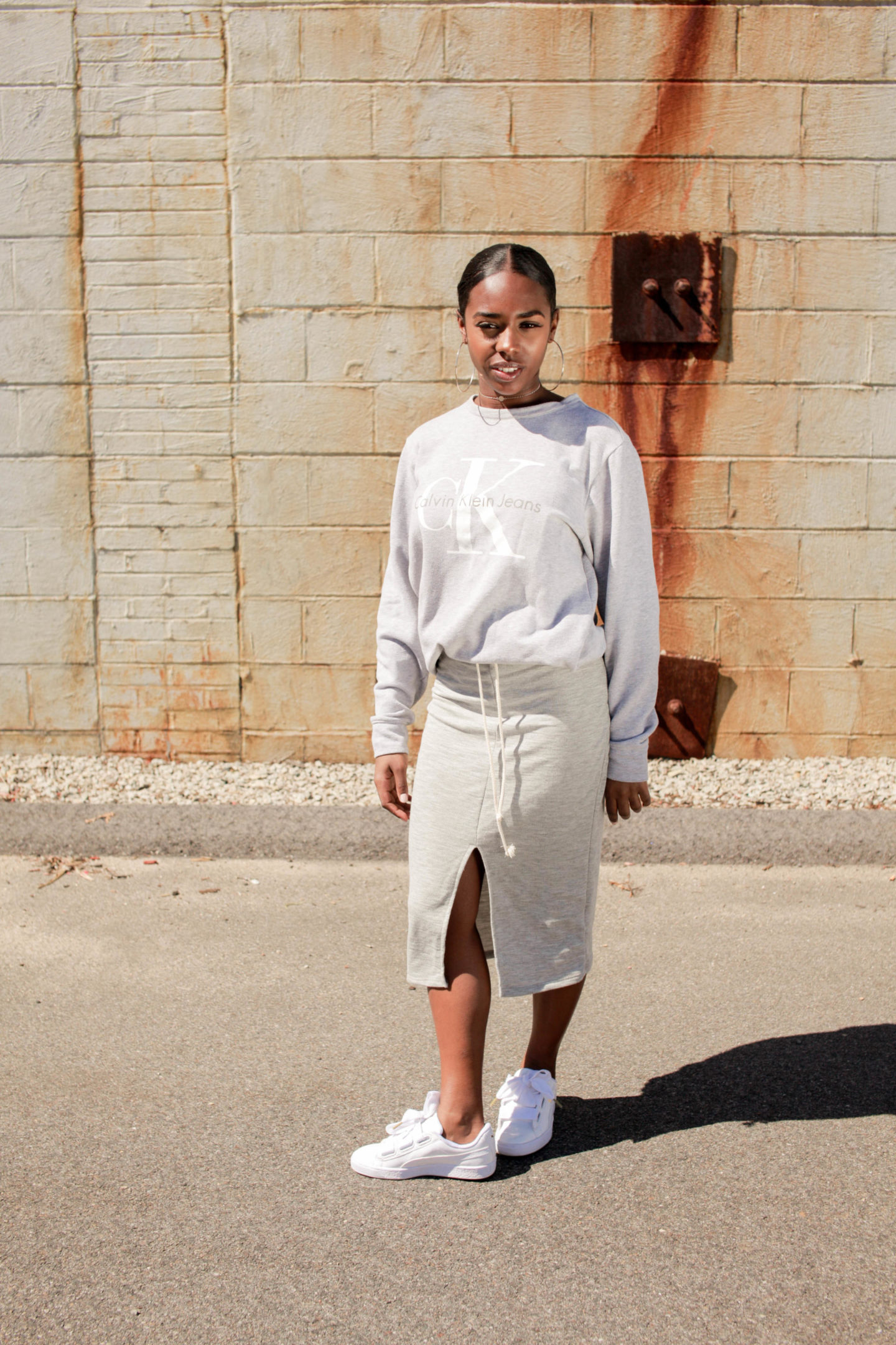 Puma Basket Heart Casual Spring Outfit